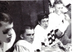 Mike Sisler, Joe Fedyk, Bob Cardamone & Lloyd Thompson... Stout's halftime motivational session '63 season