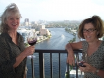 Maureen Ennis O'Connell & Pat Hoagland Bisignano toasting with Rich Moran's wine from his Moran Manor Winery. Maureen