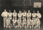 1958 Basket Ball Team Team Members of class of '58' #4 Thelmore James #6Frank Basil,#12Wayne Szoke, #9 Al Kohler,#14 D