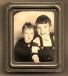 Bruce Dembling and brother Don(class of 1959). Circa 1946 probably taken along the Jersey shore in one of those Photomat
