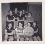 PAL Basketball team 1954/1955  back row-Fran L,Carole MC,Georgette J,Lynn A, Sis P. Front row Eileen MC,Janet G, Gail J,